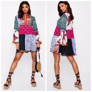 NWT Boohoo patchwork swing dress or swim cover